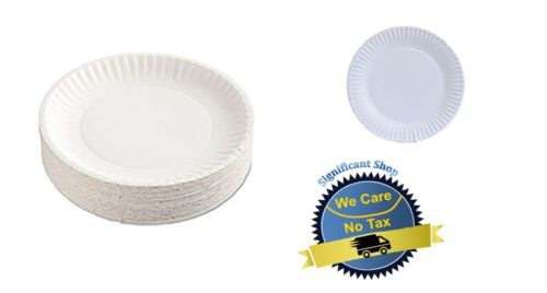 100 White Paper Party Plates Disposable Dinner Wedding Dishes Round Catering NEW