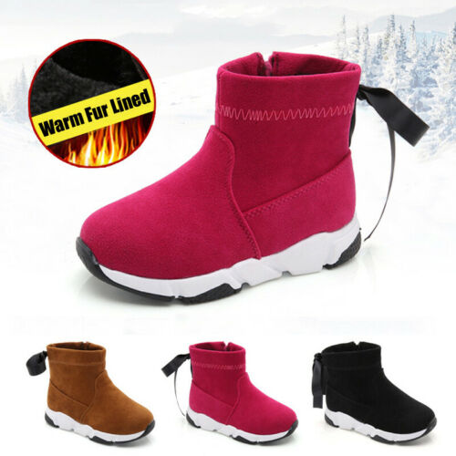 Winter Children Lace Up Ankle Boots Kids Girls Zip Fur Lined Fashion Sport Shoes