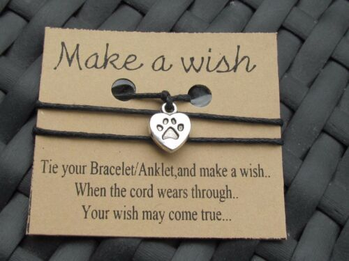 LOVE MY DOG HEART  WISH BRACELET //ANKLET FRIENDSHIP BRACELET