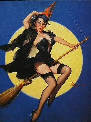 Elvgren Pinup Girl Calendar Art Halloween Witch in Black Lingerie Rides Broom A+