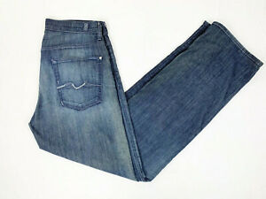 7-For-All-Mankind-Jeans-34-Relaxed-Blue-Stretch-Button-Fly-Dark-Wash