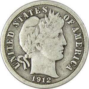 Barber-Dime-VG-Very-Good-Random-Date-90-Silver-10c-US-Type-Coin-Collectible