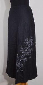 Merona-Women-039-s-Black-BoHo-Linen-3-4-Skirt-With-White-Floral-Embroidery-Size-4