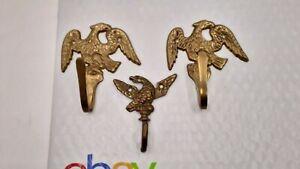 Vintage-Antique-Brass-Eagle-Coat-Clothes-Hanger-SET-OF-3