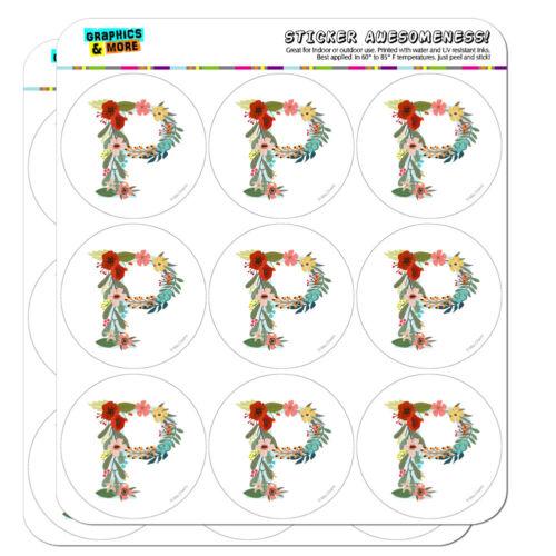 Letter P Floral Monogram Initial Planner Calendar Scrapbooking Crafting Stickers