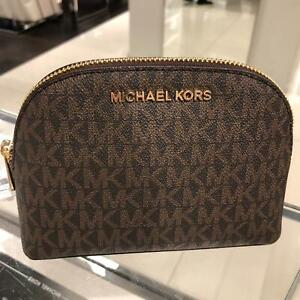 Details about Michael Kors Large Jet Set Travel Pouch Cosmetic Bag Leather Case Brown MK Logo