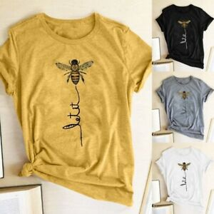 Women-Summer-Fashion-Top-short-Sleeve-Cotton-Tos-Bee-Print-Funny-Graphic-T-shirt