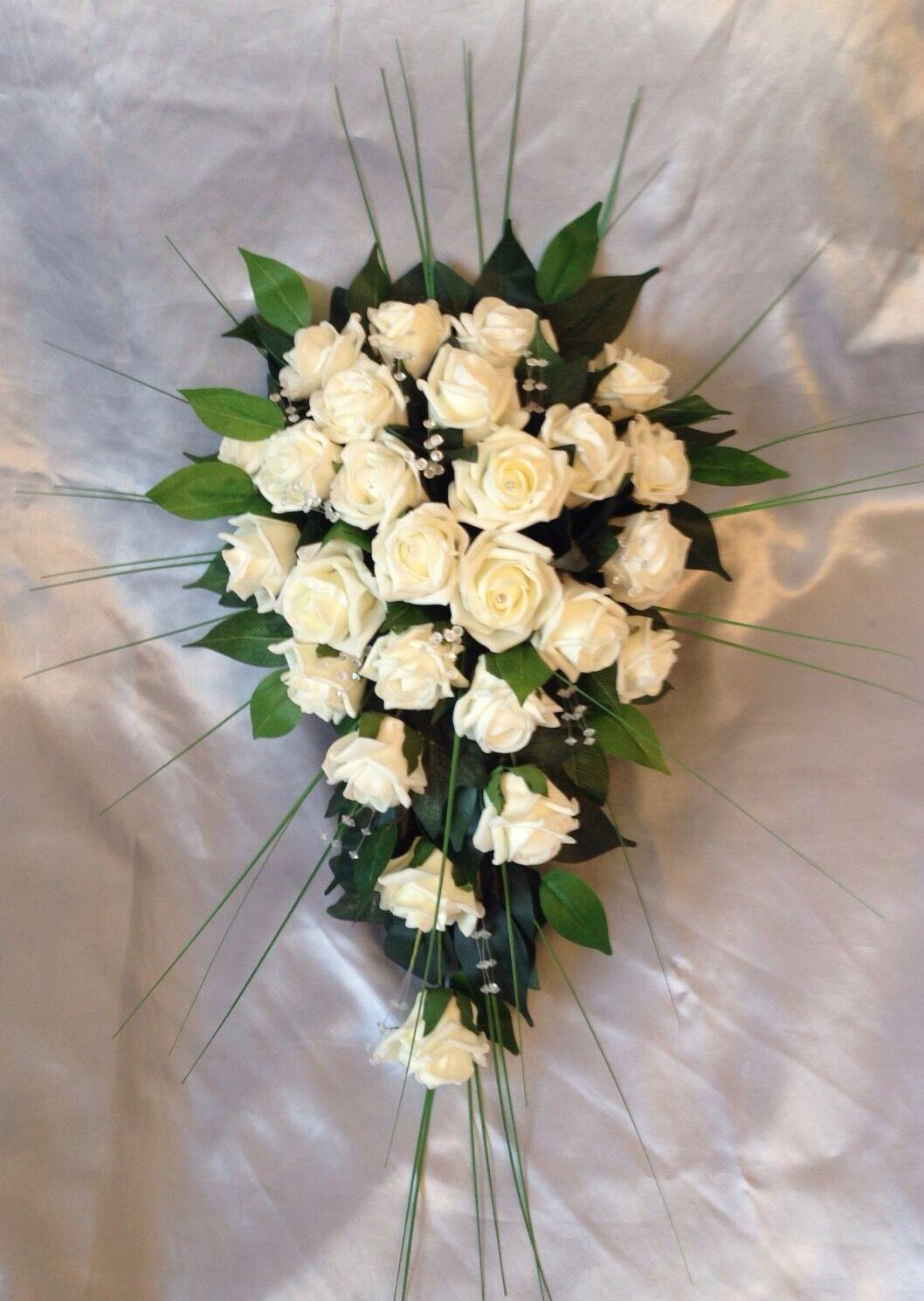 Mariée Artificielle Mariage Fleurs Ivoire Rose Douche Larme Bouquet de verdure