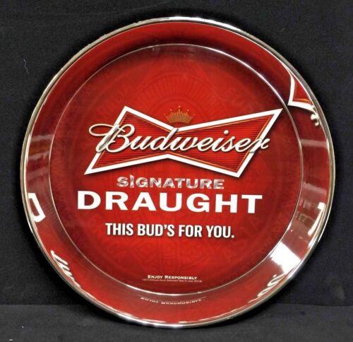 "Budweiser Bowtie Signature Serving Tray Acrylic 12.5/"" Diameter NEW /& FREE SHIP."