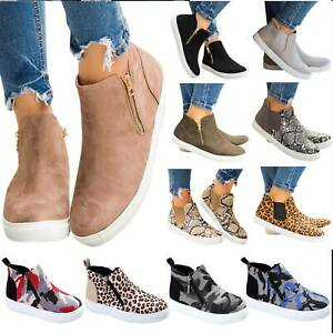 Fashion-Womens-Flat-Casual-High-Top-Sneakers-Ankle-Boots-Zip-Trainers-Shoes-Size
