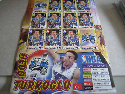 Dominica 2005 90c Hedo Turkoglu (orlando Magic) Blatt (12 Briefmarken)