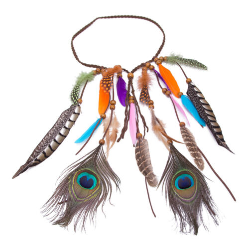 Boho Peacock Feather Hair Band Rope Headband Hippy Indian Festival Party Costume