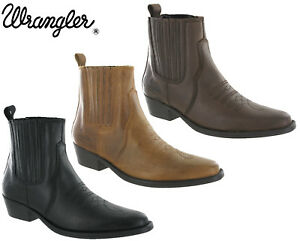 Wrangler-Western-Cowboy-Boots-Tex-Mid-Leather-Twin-Gusset-Cuban-Heel-UK-7-12