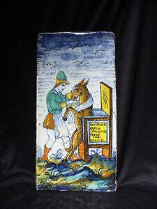 Grand 17th to 18th Century Italian Majolica Tile d'un italien proverbe-afficher le titre d`origine a5Nd399Z-09091237-383954185