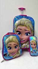 Frozen Elsa School Backpack Rucksack Trolley Travel Lunch Bag Pencil Case Kids B