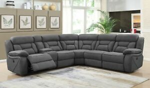 Modern-4-Piece-Modular-Motion-Sectional-3-Power-Recliner-Seats-Coated-Microfiber