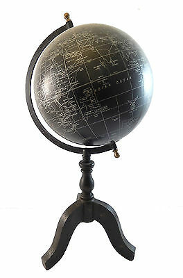 """18"""" Vintage Antique Style World Map Black Ocean & Silver Globe w/ Wood Stand"""