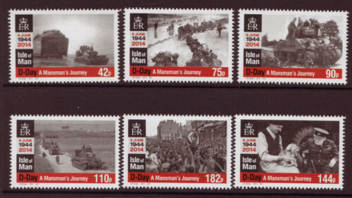 ISLE OF MAN 2014 D-DAY SET OF 6 UNMOUNTED MINT, MNH