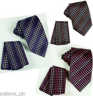Neck tie and & Pocket Square Hankie Set Formal Party Wedding Stripes Polka Dots