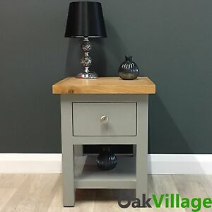 Image Is Loading Greymore Painted Lamp Table Oak Grey Side Table