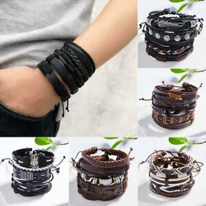 Father-039-s-Day-Gift-Mens-Punk-Leather-Wrap-Braided-Wristband-Cuff-Bangle-Bracelet