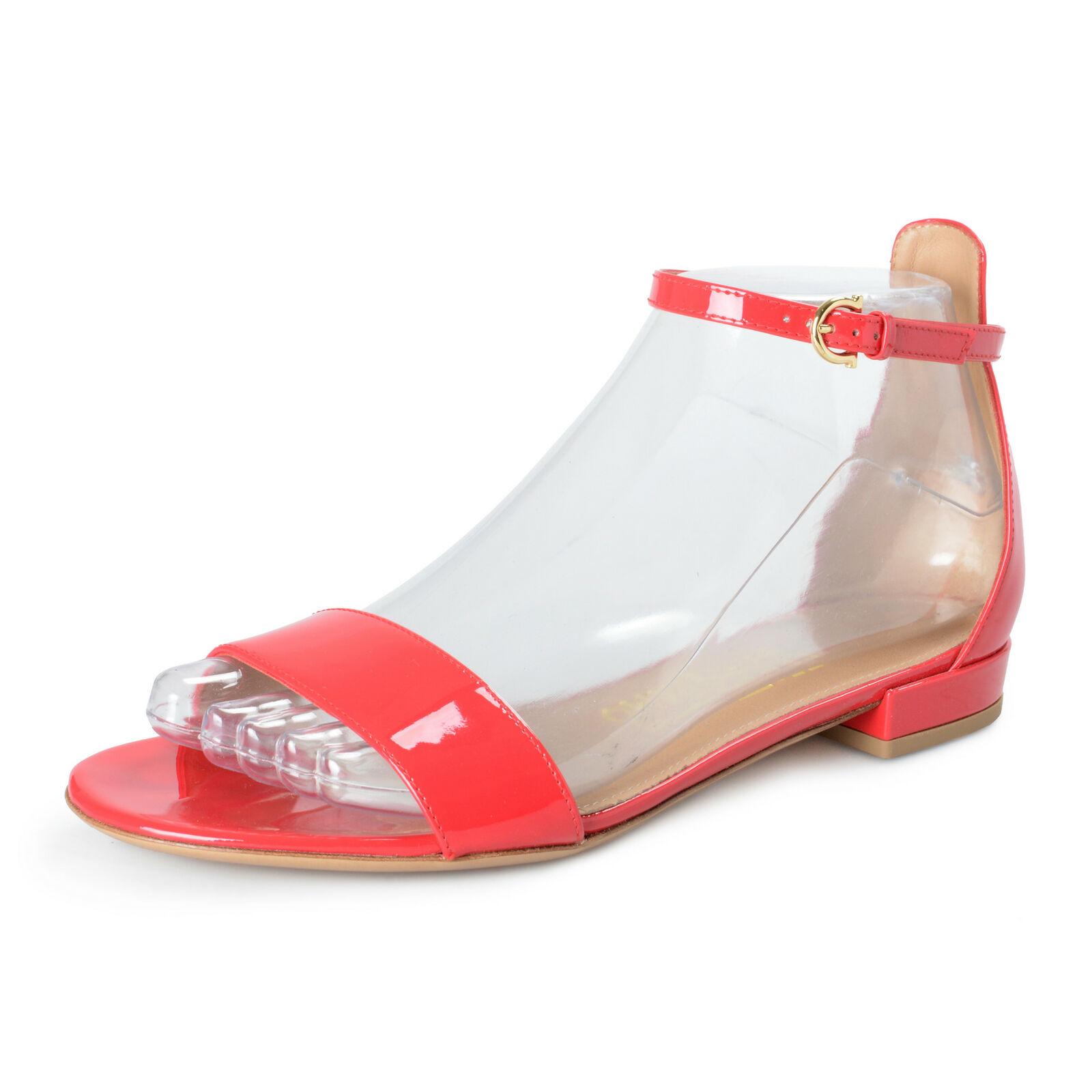 Salvatore Ferragamo Damen   Elgy   Rot Lackleder Absatz Sandalen Schuhe