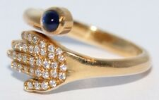 Dazzling 18ct Yellow Gold Hand Set With Multi Diamonds & Single Gem Ring Size N