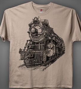 Steam-Train-Sand-light-tan-T-shirt-Crescent-Limited-Ps-4-Locomotive-1396