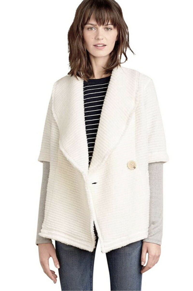 Anthropologie Roundtrip Sweater Coat Petite Small Runs Large White Grey NWT