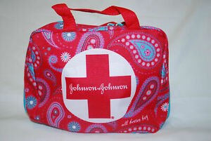 FIRST AID KIT POUCH BAG EMPTY W/ ZIPPER RED TEAL JOHNSON & JOHNSON (EMERGENCY)