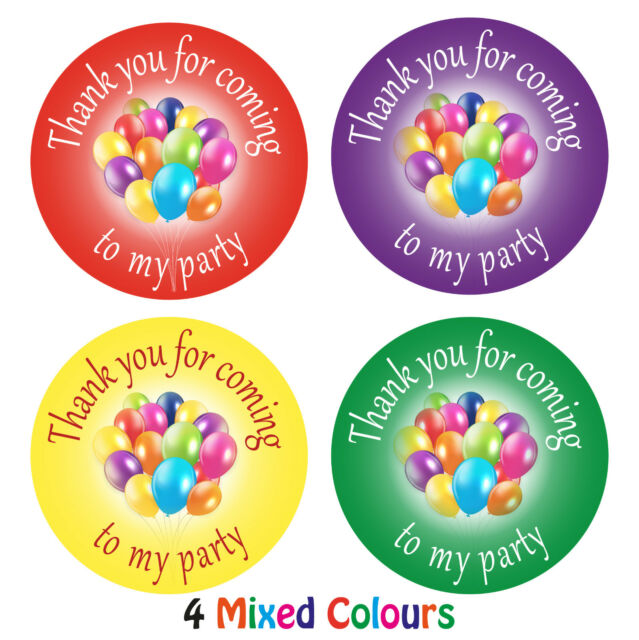 144 x thank you for coming to my party stickers labels for birthdays