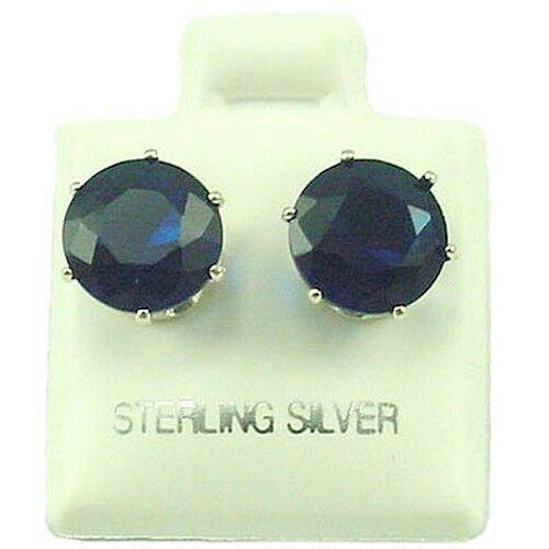 9 mm Rond Zircone cubique Simulé Saphir Clous D/'Oreilles SE225 Sterling Silver