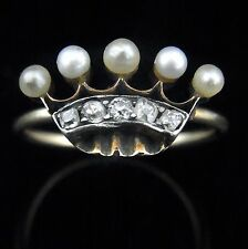 Victorian Old Mine Cut Diamonds Pearls Tiara Crown 14k Gold Ring Vintage Antique