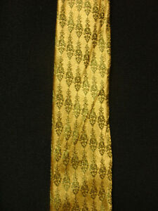 VINTAGE-1950-039-S-1960-039-S-SILK-amp-RAYON-GOLD-TIE-WITH-EMBLEMS