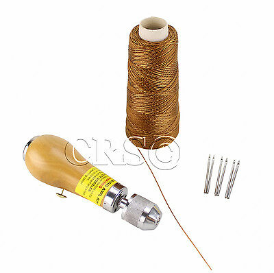 Leather Sewing Awl Quick Stitch Repair Tool Set Speedy Repair Kit Heavy Duty BRN