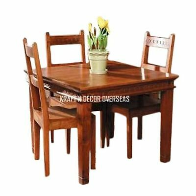 KraftNDecor Contemporary Wooden Dining Table with Four Chair Set in Brown Colour