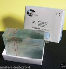 50 lames en verre porte objets Microscope microscopic slides glass 76 x 26mm
