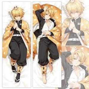 Demon Slayer Agatsuma Zenitsu Anime Dakimakura Hugging Body Pillow Cover Case