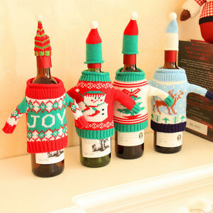 Wine-Bottle-Cover-Bag-Knitted-Sweater-Hat-Gift-Bag-Christmas-Tree-Bar-Decor