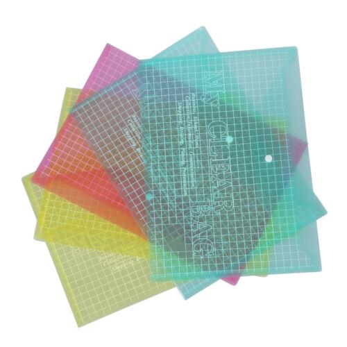 5X A4 Stud Plastic Popper Files Folders Document Wallet Office Depot Multi Q6N8