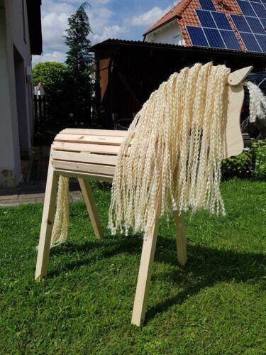 Holzpony mit bewegl Voltigierpferd Holzpferd Ohren extra Mähne/Schweif Aktion
