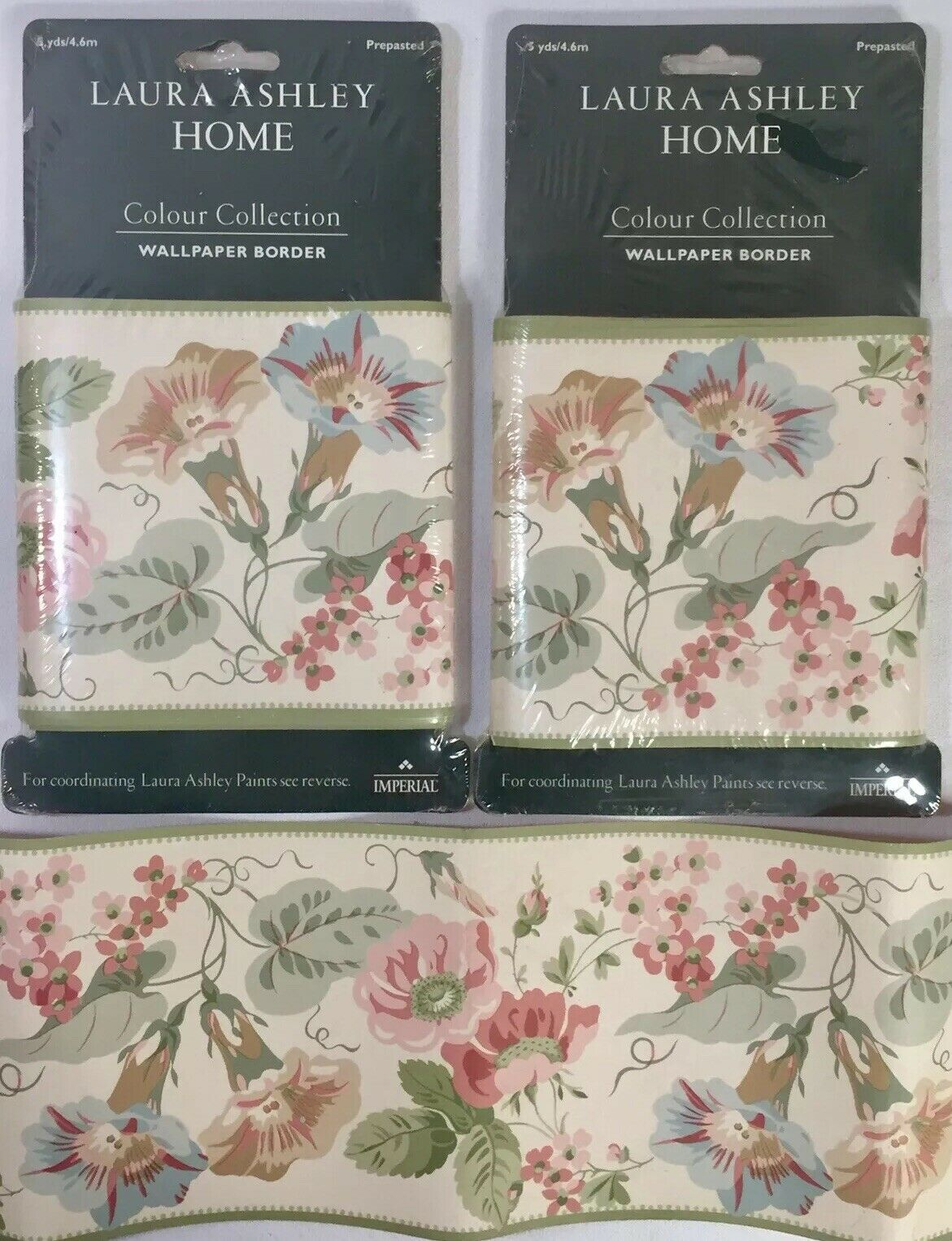 Laura Ashley Home Color Collection Wallpaper Border 10 Yd Floral