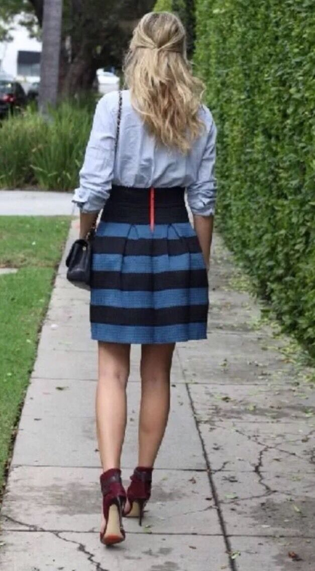 Ponte Bell Skirt By Girls From Savoy Striped Size MP LP NWT Favorite