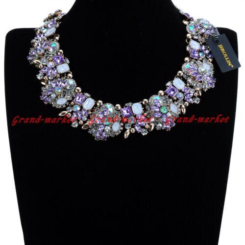 Fashion Women Statement Chain Crystal Glass Chunky Choker Bib Necklace Jewelry