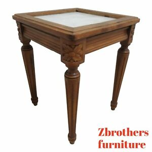 Antique-French-Carved-Marble-Top-End-Table-Pedestal