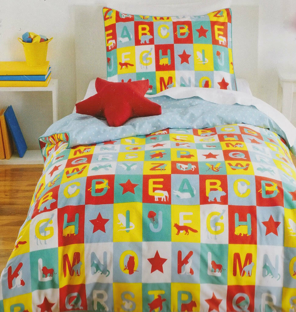 Animal Alphabet Quilt Cover Set Doona Duvet Cover Kids Bedding Boys Zoo Lion Fox