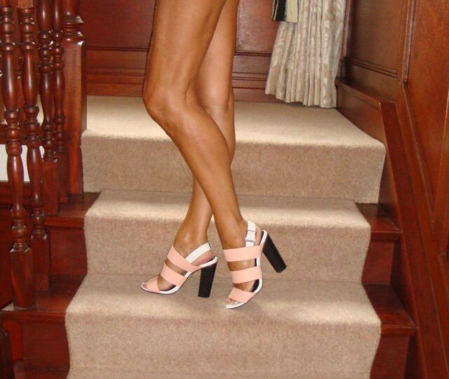 New Look Shoes Size 4, Strappy Salmon Pink & White/Black Block Heels Worn Once
