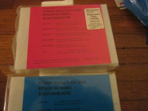 Magenta+Cyan Ink Cartridges Fit Epson Stylus Color 3000