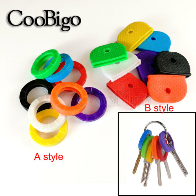COLOURED KEY CAP Assorted Colours Top Head Covers ID Cap Ring Keyring Tab