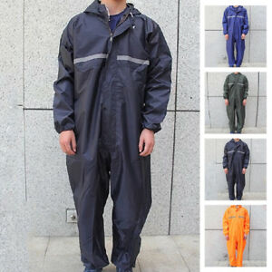 AU-Waterproof-Motorbike-Motorcycle-Rain-Suit-Raincoat-Overalls-Work-Outdoor